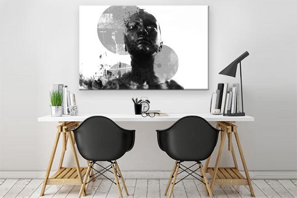 Cadre déco contemporain noir et blanc décoration bureau