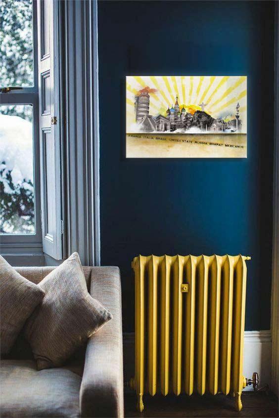 tableau-décoration-jaune-merveilles-du-monde