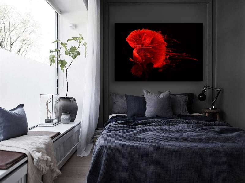 nouveau tableau design poisson encre rouge. Black Bedroom Furniture Sets. Home Design Ideas