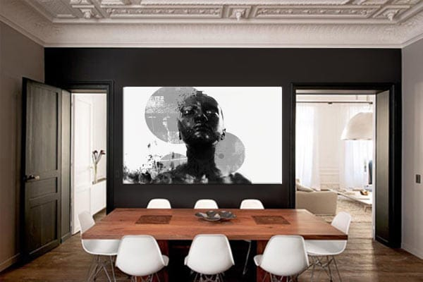 toile design noir et blanc pour salle à manger design