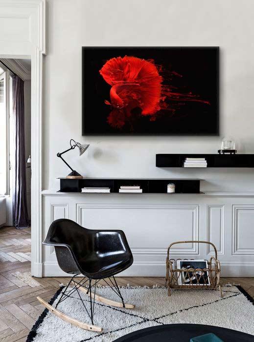 nouveau tableau design poisson encre rouge. Black Bedroom Furniture Sets. Home Design Ideas