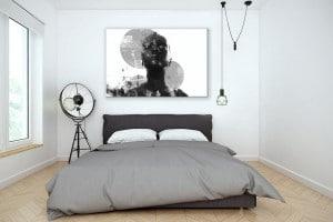 tableau design contemporain pour chambre noir et blanc
