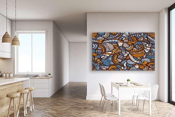 déco salle à manger moderne avec un tableau déco africain