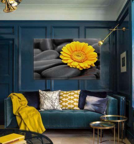 toile-déco-fleur-jaune