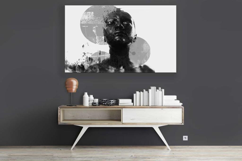 Toile imprimée design noir et blanc déco contemporaine