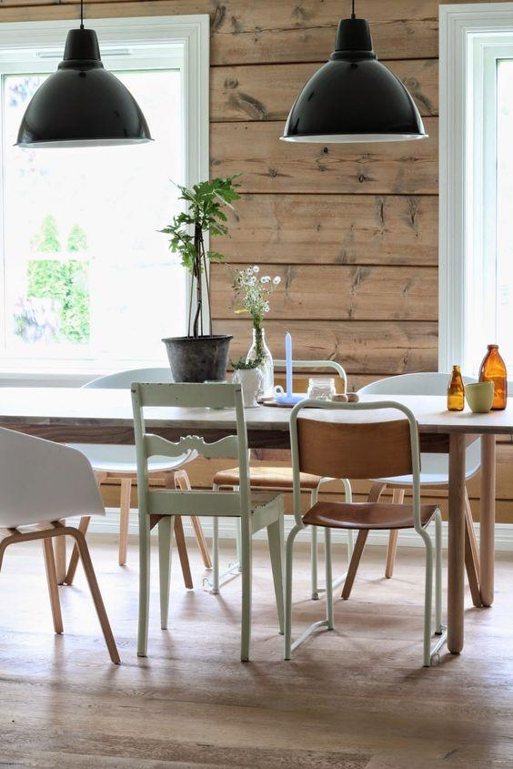 mélange de style de chaises salle à manger