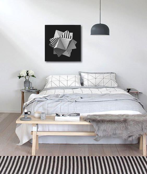 tableau noir et blanc moderne géométrique
