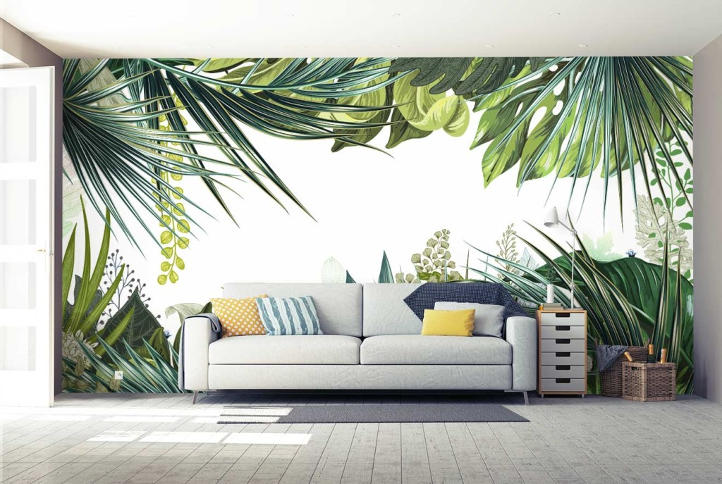 Papier peint trompe l il jungle tropicale nouveaut for Deco salon papier peint