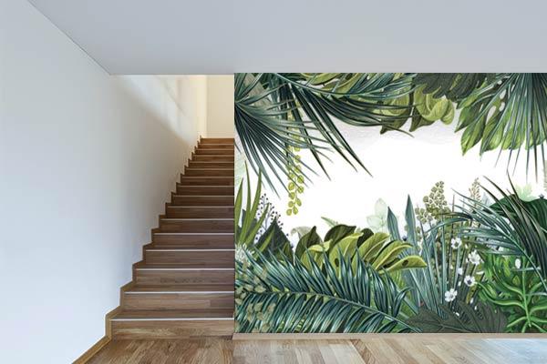 Un papier peint trompe l'œil jungle tropicale dans mon couloir