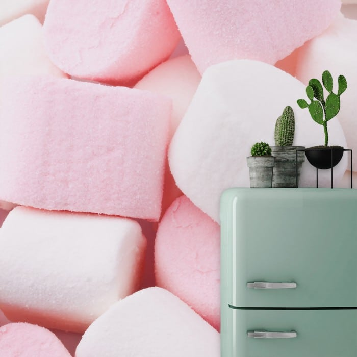 papier peint cuisine rose