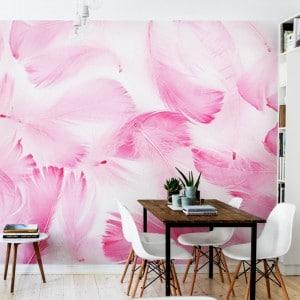 papier peint rose poudre plumes