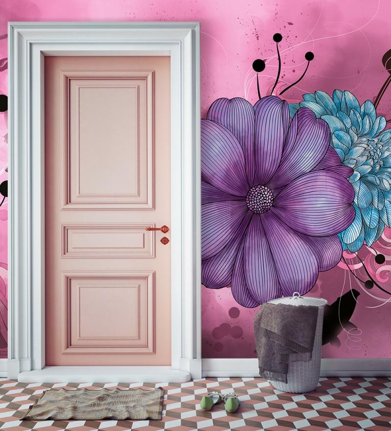 papier peint salle de bain rose