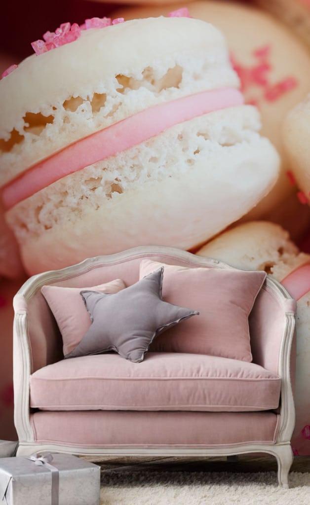 papier peint rose macarons