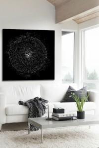 tableau design abstrait deco salon noir et blanc