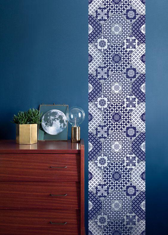 décoration murale bleu lé de papier peint design