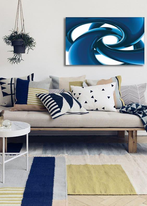 déco salon tableau design bleu
