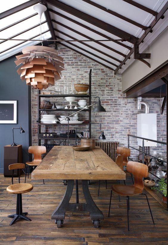 salle à manger vintage industrielle