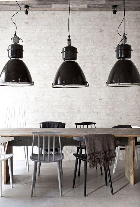 lustres salle à manger industrielle