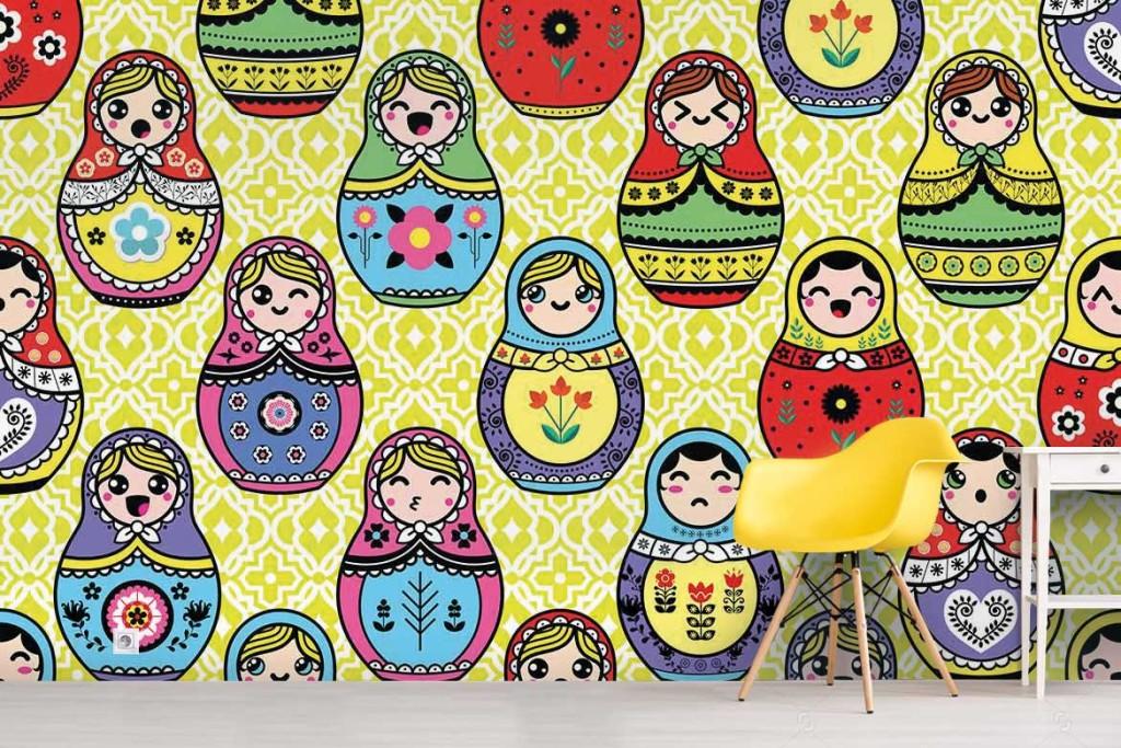 tapisserie chambre enfant poup es russes nouveaut blog toile design et moderne d 39 izoa. Black Bedroom Furniture Sets. Home Design Ideas