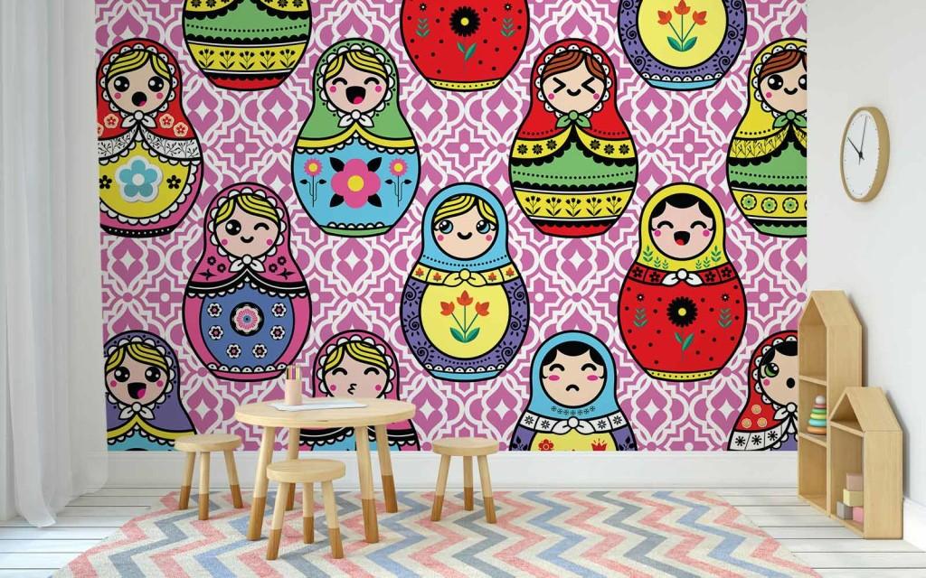 Tapisserie chambre enfant poup es russes nouveaut Tapisserie originale chambre