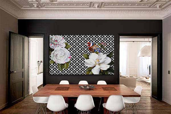 tableau-contemporain-noir-et-blanc-oiseau-mon-ami