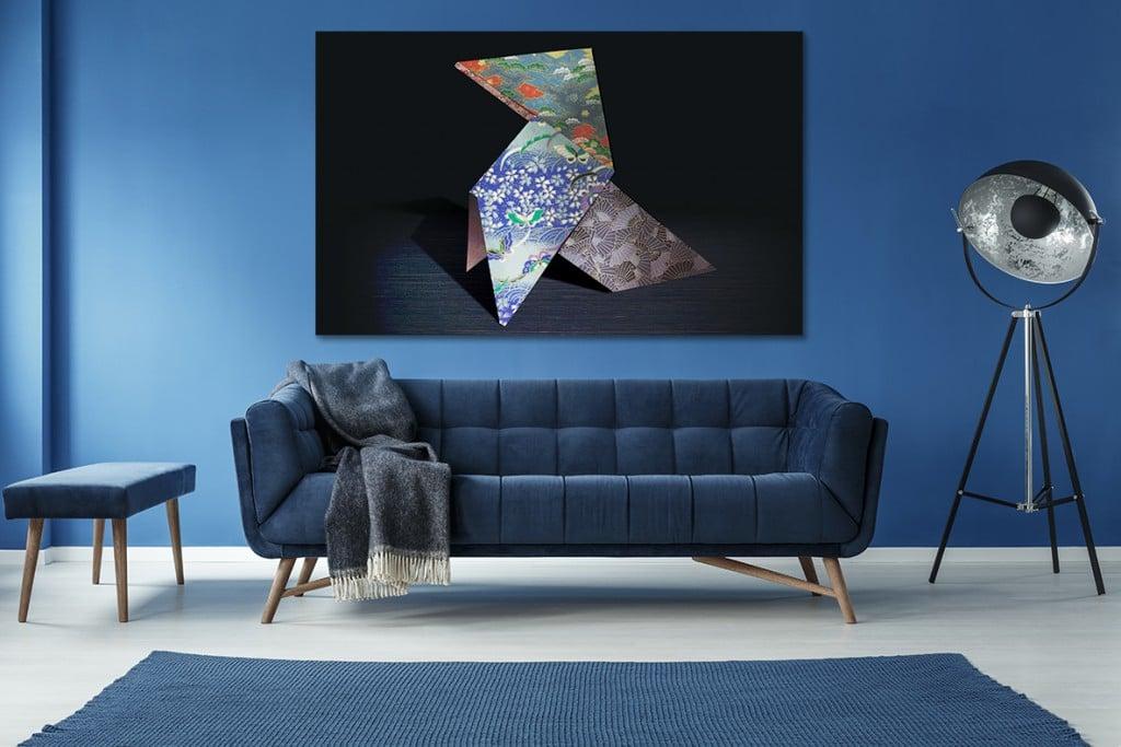 tableau-contemporain-origami-deco-bleu-roi