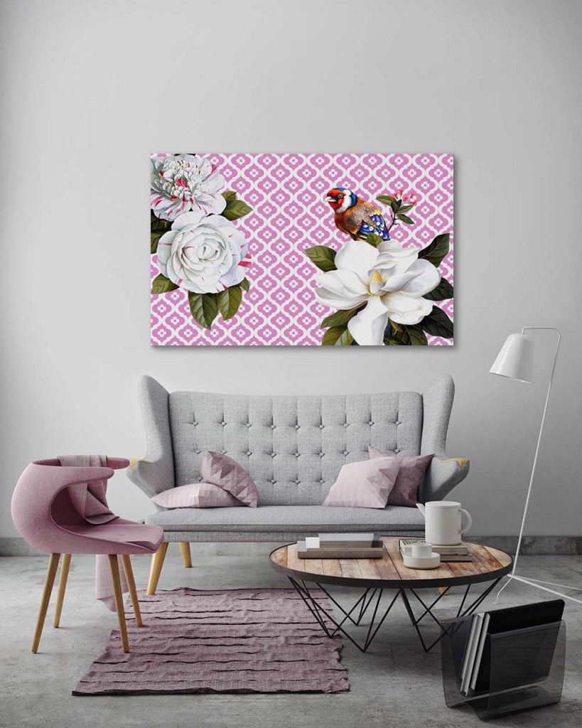 tableau-moderne-original-graphique-mon-ami-l-oiseau-rose