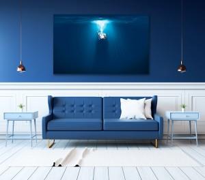 tableau design pour intérieur bleu roi