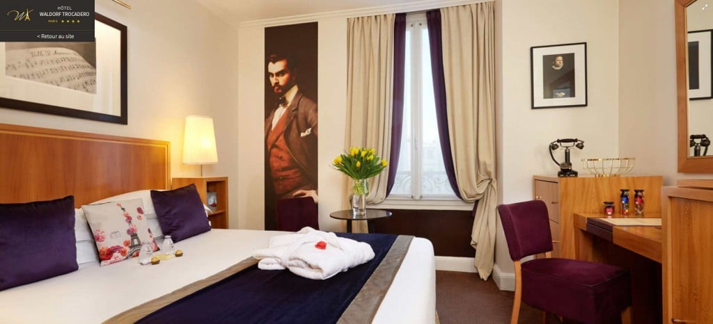 déco chambre hotel waldorf papier peint Izoa