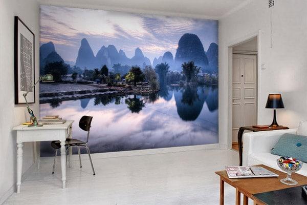 Papier peint panoramique déco salon