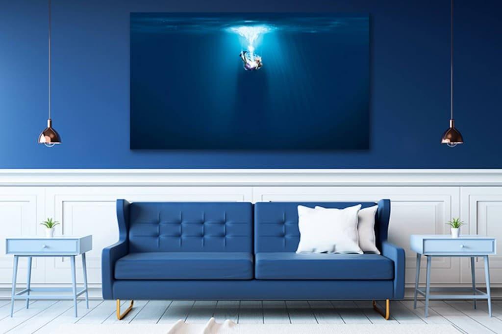 décoration murale design bleu
