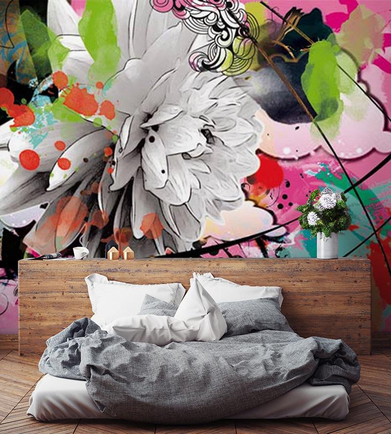 papier peint chambre colorée