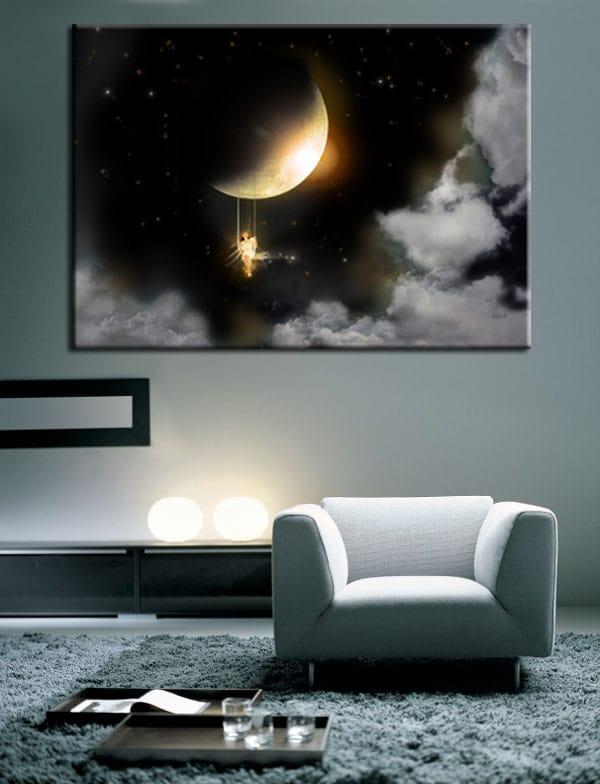 Grand tableau salon Pleine Lune