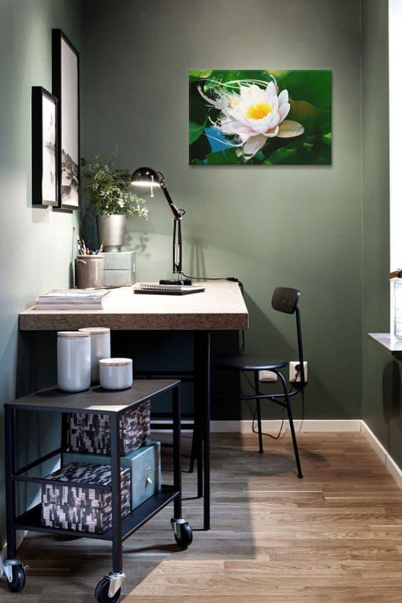 decoration-murale-kaki-tableau-fleur-lotus