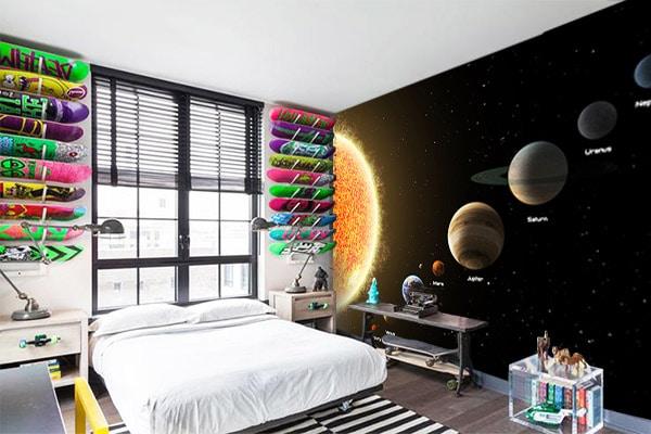papier peint chambre th me espace. Black Bedroom Furniture Sets. Home Design Ideas