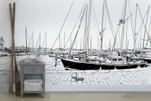 papier-peint-couloir-theme marin