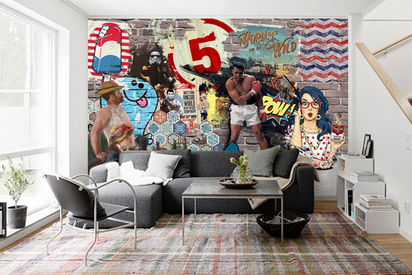 tableau pop art et papier peint pow. Black Bedroom Furniture Sets. Home Design Ideas