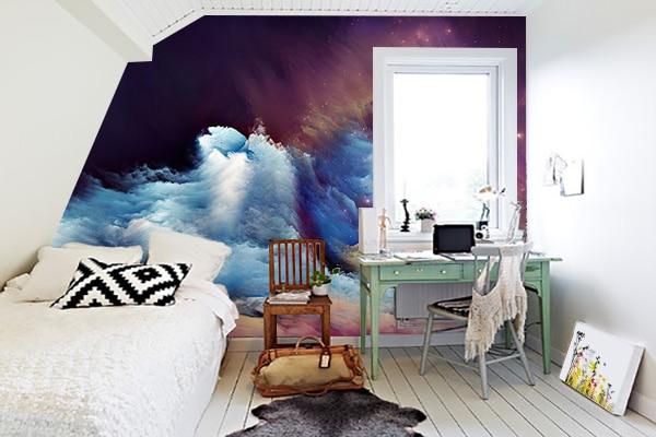 papier peint chambre espace. Black Bedroom Furniture Sets. Home Design Ideas
