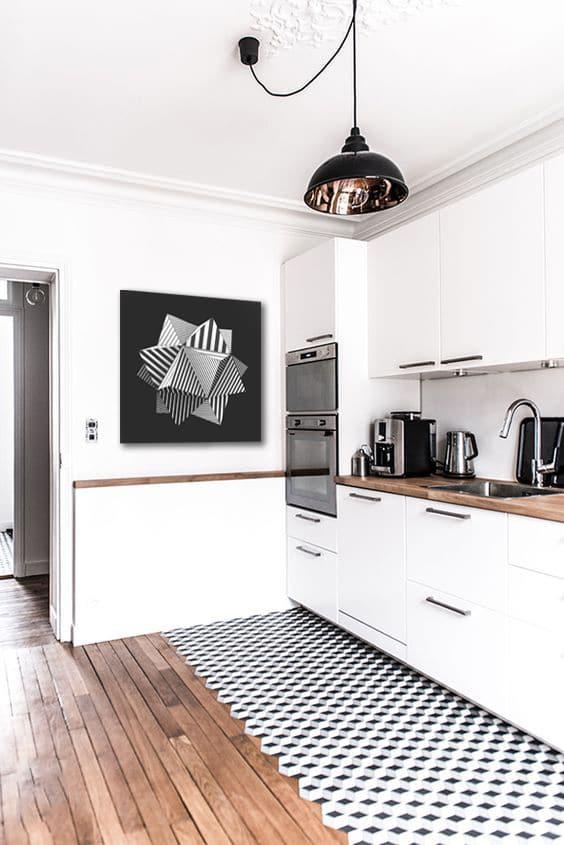 toile déco moderne pour cuisine blanche