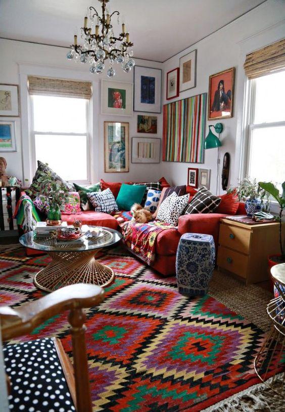 décoration ethnique tapis motif azteque