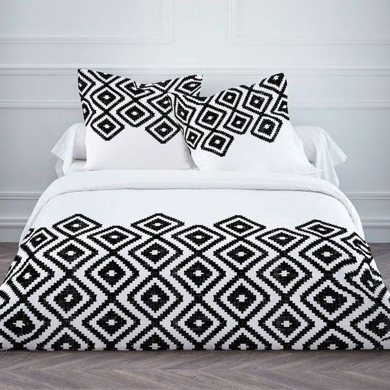 Linge de lit graphique noir et blanc