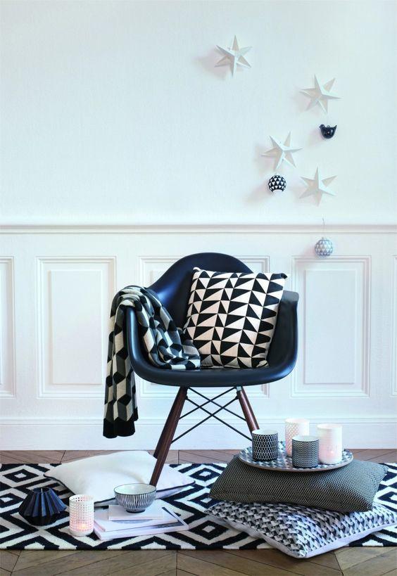 tapis graphique noir et blanc