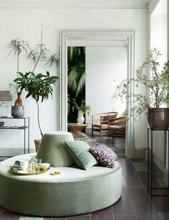 décoration salon nature couleur vert et blanc