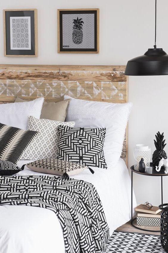 decoration chambre motif graphique noir et blanc