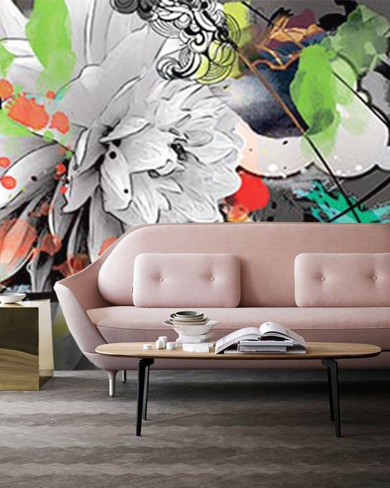 decoration rose et gris avec tapisserie design