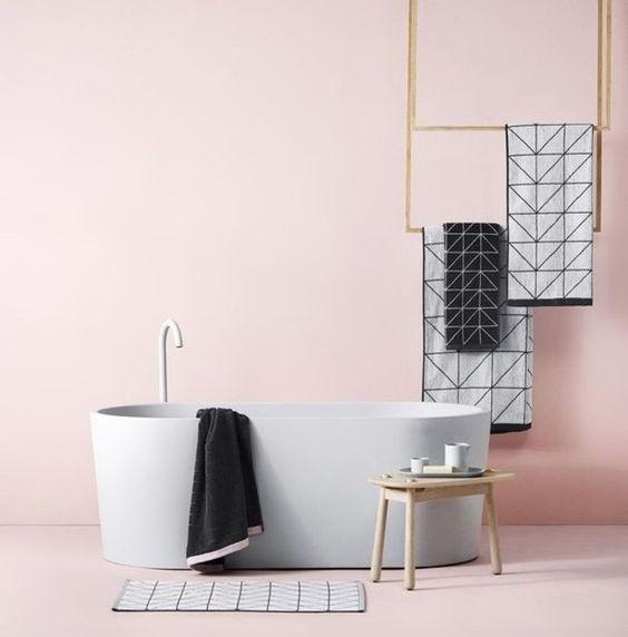 salle de bain gris et rose