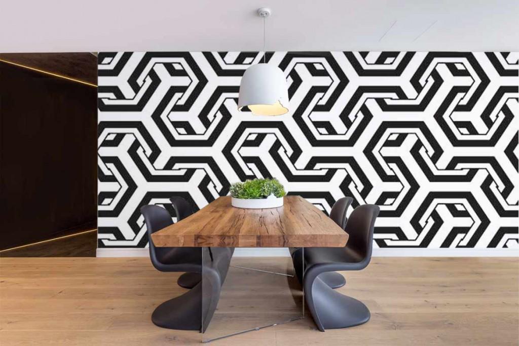 papier-peint-3d-noir et blanc salle à manger