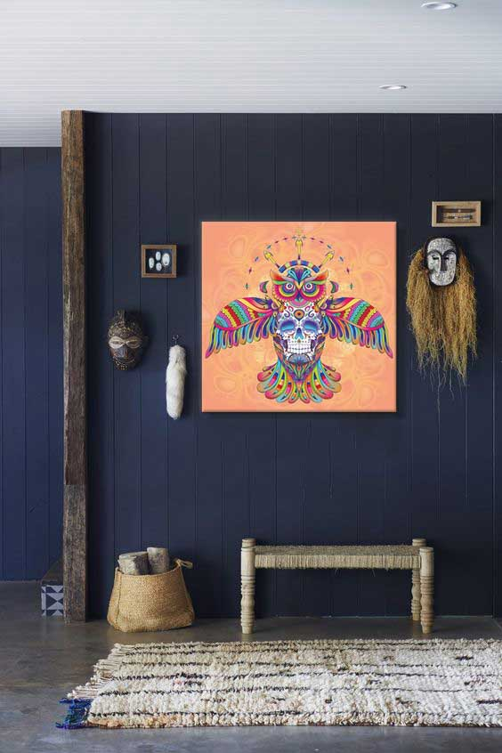 tableau-izoa-hibou-azteque-orange