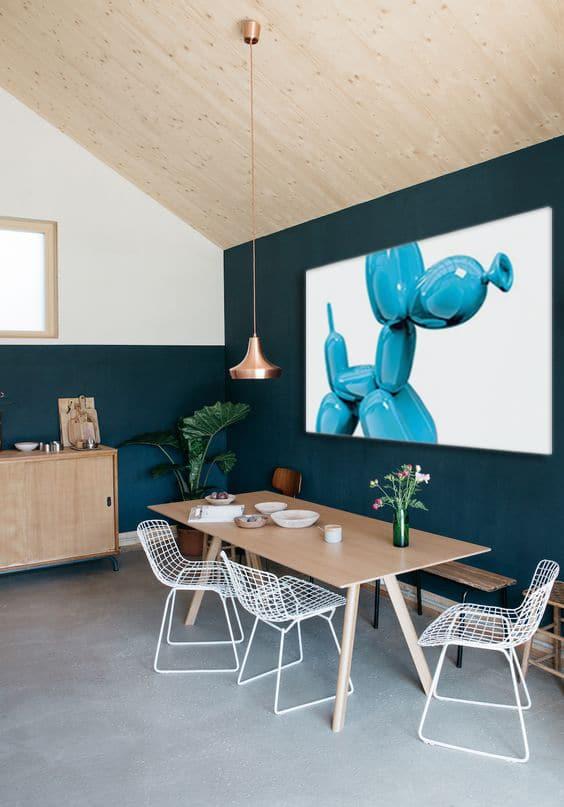 Salon Salle A Manger Bleu : Décoration murale bleu canard izoa