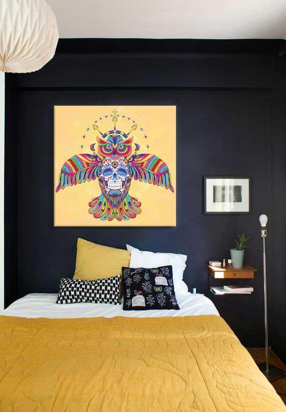 toile-deco-izoa-hibou-azteque-jaune